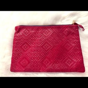 CLARE VIVIER Red Leather Basket Weave Zip Clutch